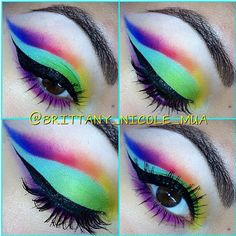 Fabulous rainbow cut crease look by Brittany Nicole using all her Sugarpill pressed eyeshadows!