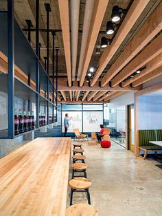 Yelp staff accommodations in San Francisco set up decorative ceiling