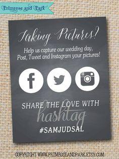 Chalkboard Wedding Hashtag Sign Printable // by PrimroseAndPark