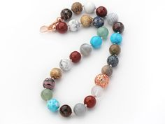 Aypearl.com--Assorted Round Shape 12mm Multi Color Multi Stone Beaded Knotted Necklace