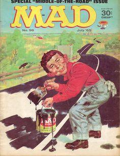 Mad Magazine No. 96,| July 1965 - cover  http://scottgronmark.blogspot.co.uk/2016/11/celebrating-mad-magazines-anarchic.html