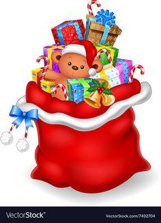Cartoon santa claus holding bag of presents Vector Image Christmas Rock, Christmas Frames, Christmas Pictures, Christmas Time, Merry Christmas, Xmas, Christmas Labels, Christmas Clipart, Christmas Printables