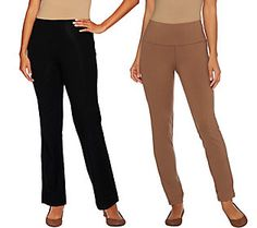 Women with Control Petite Tummy Control Boot Cut and Ankle Pants Set