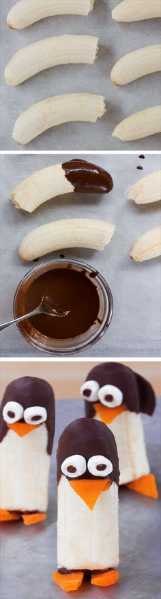 Peel the bananas, dip in melted chocolate, then use the... full recipe instructions: http://chocolatecoveredkatie.com @choccoveredkt