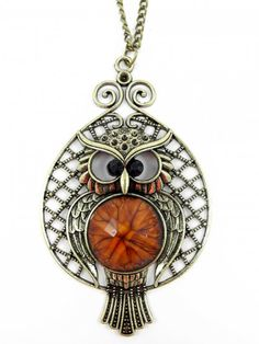 Owl Pendant Necklace in Brown and Gold - $10.20 : FashionCupcake, Designer Clothing, Accessories, and Gifts