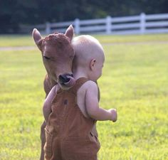 This is so cute! Baby cow, calf, licking a sweet little baby. Kid is all snuggled in for a hug. This pic gives me the warm fuzzies! So Cute Baby, Cute Kids, Animals For Kids, Farm Animals, Animals And Pets, Cute Animals, Beautiful Creatures, Animals Beautiful, Animal Pictures