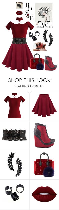 """Untitled #758"" by skirtthenorm on Polyvore featuring Chicwish, Alaïa, Michael Antonio, Cristabelle, MCM and Lime Crime"