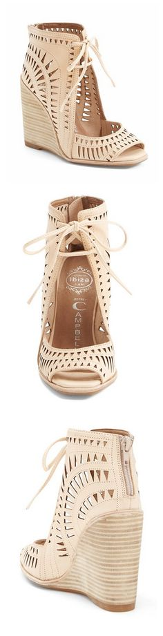 "Jeffrey Campbell ""Rodillo-Hi"" Wedge Sandal. Nude wedges for spring."