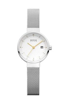 BERING 14426-001 Women s Watch Solar White Dial Mesh Band Gold-Tone Hands 0870f09a981