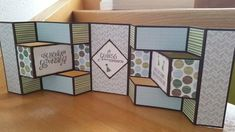 Double Tri shutter Card (was für ein Name) Tri Fold Cards, Fancy Fold Cards, Folded Cards, Pop Out Cards, 3d Cards, Birthday Doodle, Birthday Cards, Trifold Shutter Cards, Shaped Cards
