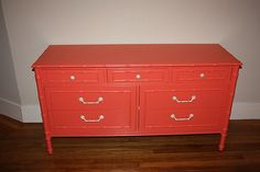 Painting a 1960s Faux Bamboo Thomasville Dresser -- persimmon-esque swatch, Benjamin Moore's Starburst Orange,