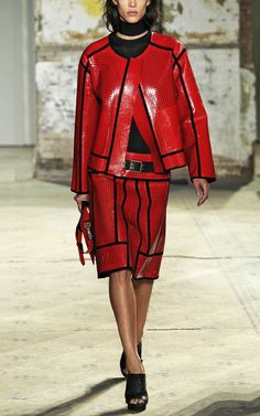 Proenza Schouler SS 2013 ... red /blk leather suit.....wow