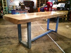 Live edge Ash and galvanized dining table