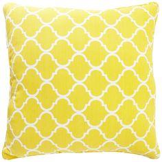 Combo with solid lemon pillow and white lumbar pillow  Cabana Geometric Oversized Pillow - Lemon   Pier 1 Imports