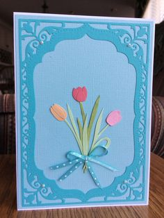 Handmade Elegant Mother's Day Greeting Card-Happy Mother's Day Handmade Card with Tulips-Turquoise and Light Blue by TreasureIslandCards on Etsy
