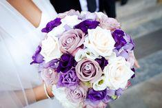 Brautstrauß lila rose weiß