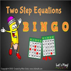 This bingo game is a great activity for teaching or reviewing the concept of solving Two Step Equations. Students will not only have fun but also get to practice their skills on solving equations that involve two steps. Giving rewards to the bingo winners is a plus!Set includes 40 pre-made Bingo cards, 32 Caller Cards with Answers (printable), and Caller Cards in PowerPoint Show format (questions with answers) $
