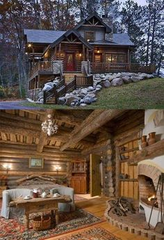 Exciting Tips to create your dream log cabin home in the mountains or next to a lake. A necessity to take refuge from our crazy life. Log Cabin Living, Log Cabin Homes, Log Cabins, Cabins In The Woods, House In The Woods, Casas Country, How To Build A Log Cabin, Log Cabin Furniture, Mountain Homes