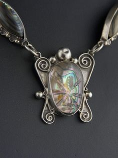 Vintage Mexican 40's Carved Abalone + Big Link Necklace - Mayan Mask Sterling Silver by cocoandbenny on Etsy