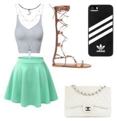 """"""""""" by yarlin-perez on Polyvore featuring LE3NO, Chanel and adidas"""