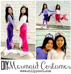 "The girls chose to be mermaids this year for Halloween. Specifically, ""Fairy Tale Mermaids"". I aimed for a simple skirt with a tail that they could easily walk in. Here's how I made their mermaid skirts! Supplies Shiny stretch fabric, about 1.5 yards Cotton fabric, about 1/2 yard Batting 1 inch elastic for waistband Decorative …"