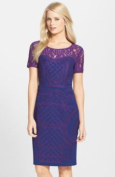 Free shipping and returns on Nue by Shani Lace Yoke Embroidered Sheath Dress at Nordstrom.com. Exquisite, careful embroidery patterns a breathtaking sheath dress graced with floral lace at the yoke and sleeves for a beautifully feminine look.