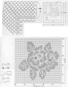 "Photo from album ""Серветки"" on Yandex. Japanese Crochet Patterns, Crochet Edging Patterns, Filet Crochet Charts, Crochet Projects, Table, Throw Pillows, Recipe, Graph Crochet, Bedspreads"