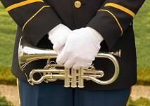 uniformed cornet player