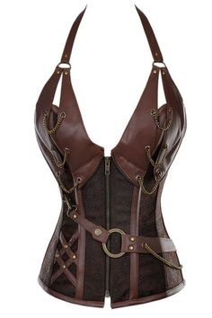 This faux brown leather medieval inspired overbust steel boned corset has a deep plunging neckline which will support your bust and show off your cleavage! The bronze chain detail adds to the medieval