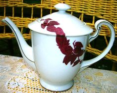 Mid Century Modern Art Deco Aesthetic Teapot Vintage 1940's to 1950's Hand Painted Stylized Burgundy Bamboo on White Porcelain with 24K Gold