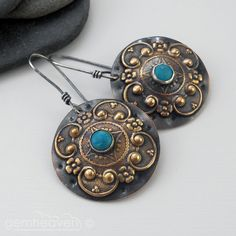 Sterling silver, brass, copper  and Turquoise cabochon earrings - Gladiatrix VII -. £35.00, via Etsy.