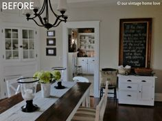 Love this idea! White kitchen table with dark stained wood on top. Doing this with our table :)