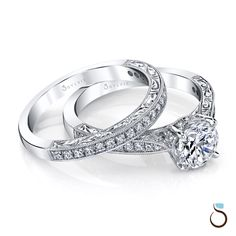 Let the #diamonds do the talking... this elegant designer-engraved soliatire engagement ring set should do the trick!  sylviecollection.com (Style no. S1363 & BS1363)  #SomethingSylvie #SylvieCollection #GetEngagedWithSylvie #EngagementRing #Jewelry #Proposal #MarryMe