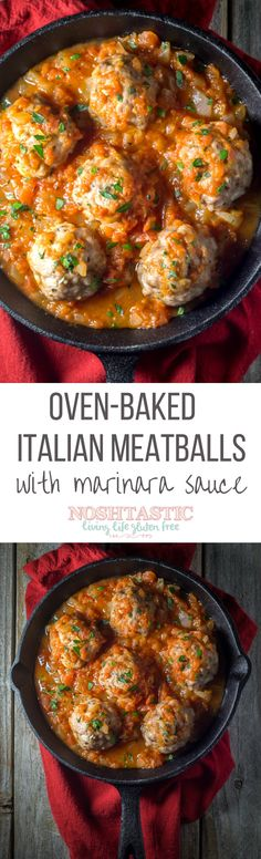 Unbelievably easy Oven Baked Italian Meatballs recipe!  Perfect for a weeknight dinner and on the table in LESS than 30 minutes.  BONUS:  Paleo, Gluten Free and Whole 30 too
