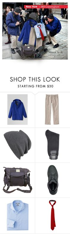 """""""Street Style: Bill Cunningham"""" by sharmarie ❤ liked on Polyvore featuring Lands' End, Old Navy, Echo, Pantherella, Uniqlo, Nikon, men's fashion and menswear"""