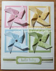 stampin up pinwheel | Baby Card made with Stampin'UP!'s new pinwheel clearlit die.