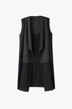 Black Sleeveless Midi Length Silky Chiffon Vest