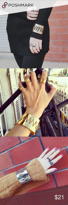"""GOLD Zeus Cuff Bracelet bold design, made from zinc alloy, adjustable to fit 6.75""""-10"""" wrists or arm band, this listing is for the gold, silver can be purchased in another listing  📦✈️ purchase today, ships tomorrow  (except Sunday & Holidays) Jewelry Bracelets"""