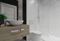 Projekt kawalerki w Warszawie 2 pokoje na 30 m2 - novoArt.pl Vanity, Bathroom, Projects, Dressing Tables, Washroom, Powder Room, Bathrooms, Vanity Organization, Bath