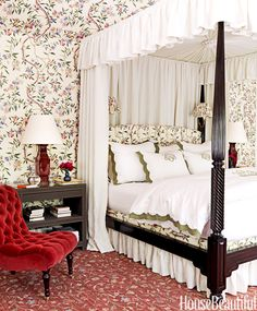 """Hang lights inside a canopy bed's curtains for reading. """"Light must be well-placed and bright enough for reading,"""" Roberts says. """"If there's room, I prefer a table lamp. If not, I go with wall-hung ones. On canopy beds, I put an additional reading lamp within the draperies.""""   - HouseBeautiful.com"""