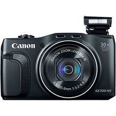 Canon PowerShot SX700 HS Digital Camera (Black) Canon   Built-in Wi-Fi connectivity with NFC, plus one-touch Mobile Device Connect button 16.1 megapixel 1/2.3-inch high-sensitivity CMOS sensor combined with DIGIC 6 image processor (Canon HS SYSTEM) 30x optical zoom, 4x digital zoom and 120x combined zoom with Optical Image Stabilizer 3-inch TFT color LCD with wide viewing angle Capture stunning 1080p HD video with a dedicated movie button