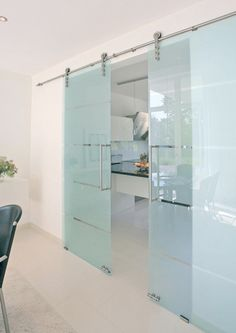 We offer sliding glass door hardware that accommodate your selection of interior sliding glass doors including frosted, colored, and frameless styles of glass doors. Glass Barn Doors, Sliding Glass Door, Sliding Doors, Entry Doors, Sliding Door Design, Sliding Door Hardware, Modern Closet Doors, Frosted Glass Door, Barn Door Designs