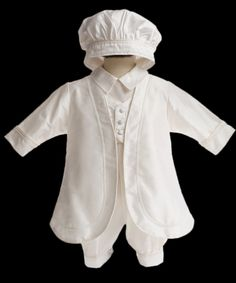 My son is going to get baptized in a couple of months, and I think this would be the cutest suit for him. I really love the little hat, and the white coat. I wonder how much this whole outfit would cost.
