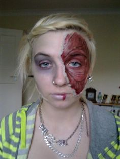 Zombie makeup  #zombie #makeup #theatre - Click image to find more Hair & Beauty Pinterest pins