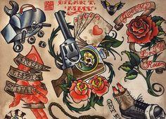 - Old School Tattoo Designs Classic Tattoo Collection Old School Gun Tiger Tattoo, Hand Tattoo, Tattoo Art, Neo Traditional Tattoo, American Traditional, Trendy Tattoos, Cool Tattoos, Heart Tattoos, Tatoos