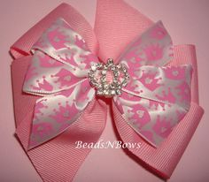 Pink Bow with Rhinestone crown by cwhite5440 on Etsy, $6.00