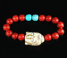 Style Turquoise White Buddha & Red Blue Ball Beads Stretch Bracelet for Gift 599