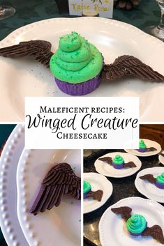 Black cherry cheesecake with vanilla whipped cream and chocolate wings - the perfect Disney treat for your Maleficent party! Disney Desserts, Disney Snacks, Disney Food, Chocolate Melting Wafers, Recipes With Whipping Cream, Cream Recipes, Black Cherry Juice, Maleficent Party