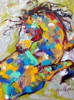 Original oil painting Wild #Horse abstract Equine by Karensfineart