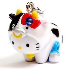 Hello Kitty Swarovski Elements Crystal Japan Limited Cute Milk Cow Pendant Charm
